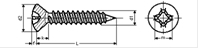 Self tapping screw raised countersunk phillips cross recess with point
