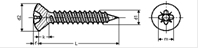 Self tapping screw raised countersunk pozi cross recess with point