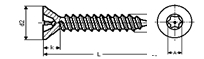 Self tapping screw countersunk 6 lobes recess with pin