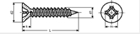 Self tapping screw countersunk phillips cross recess with point